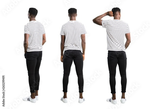 Set of Dark skinned man with striped shirt looking back Tapéta, Fotótapéta
