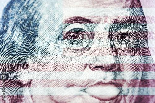 Big eyes of Benjamin Franklin with a hundred dollar bill, a symbol of inflation, Wallpaper Mural