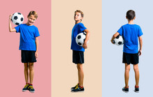 Set Of Boy Playing Soccer