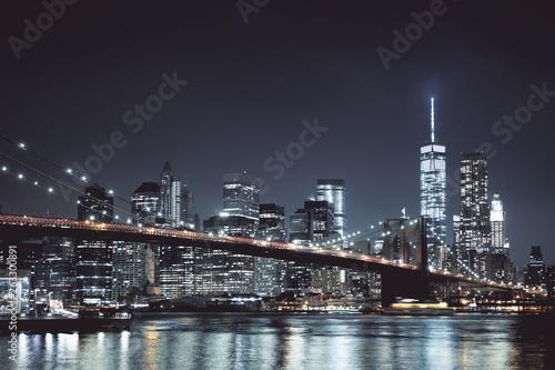 Fototapety, obrazy: Night New York skyline