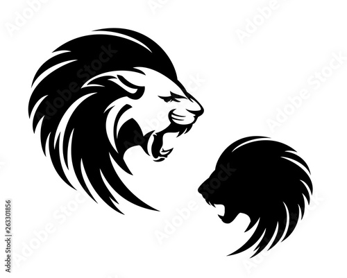 Fototapety, obrazy: roaring lion with long mane profile head - furious animal  black and white vector outline and silhouette