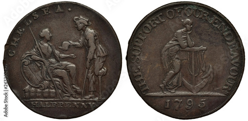 Valokuva  Great Britain British token 1/2 penny halfpenny 1795, Conder Token (18th Century