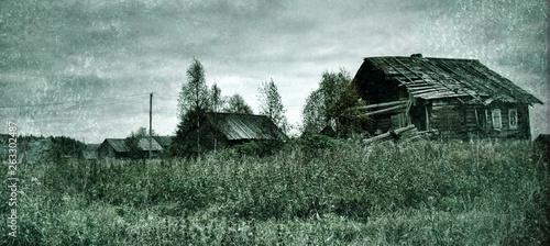 Fotografering  old village on edge of forest