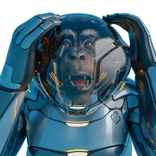 Chimpanzee Astronaut Fearful Expression In A White Background