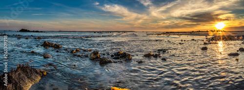 Obraz na plátně Seascape lighthouse coastal shoreline images of Cape Island, Nova Scotia Canada