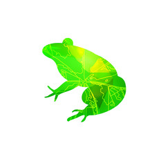 Silhouette Of Frog With Leaf Veins And Stone Cubes. Can Be Used As Badge Of French Restaurant.