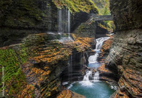 Rainbow Falls Autumn - Watkins Glen State Park, New York Canvas-taulu