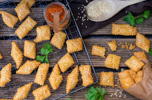 Homemade Baked Cheese Crackers With Sesame Seeds, Parmesan And Red Chili Pepper
