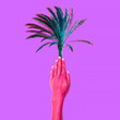 canvas print picture - Contemporary art collage. Hand holding a palm. Minimal. Zine culture concept