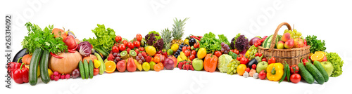 Poster Légumes frais Vegetables, fruits, berries isolated on white background
