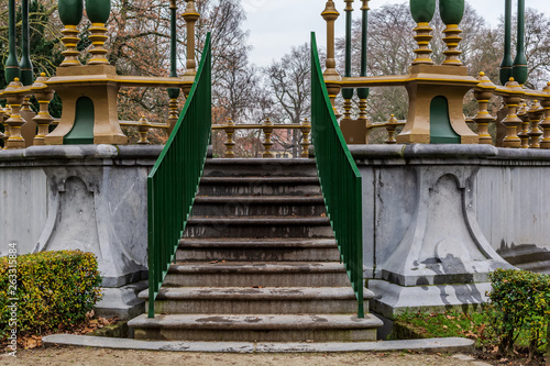 Photo  Stairs to the picturesque kiosk in Koningin Astridpark (Park of the Queen Astrid) in Bruges, Belgium