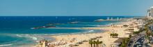 Panoramic View Of The Tel-Aviv Beach On Mediterranean Sea, Israel
