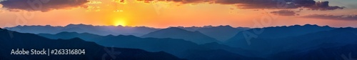 Spoed Foto op Canvas Nachtblauw Sunset over mountains in South Mexico