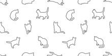 Cat Seamless Pattern Vector Kitten Calico Pet Repeat Wallpaper Scarf Isolated Tile Background White