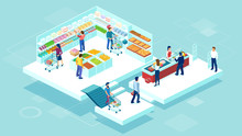 Vector Of People Shopping Toge...