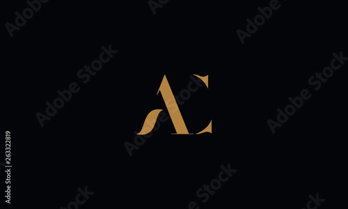 AC Letter logo Design Template Vector Minimal Canvas Print