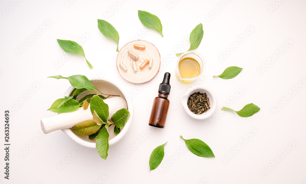 Fototapety, obrazy: natural medicine herb with herbal product top view flat lay  decorative health care  white background