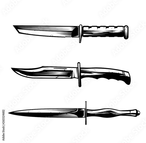 Obraz na plátně Army knives vector set