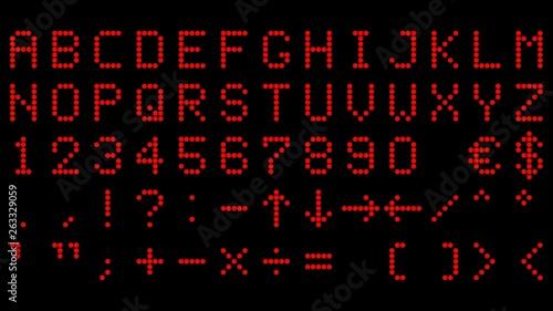 alphabet und Zeichen aus roten led Canvas Print