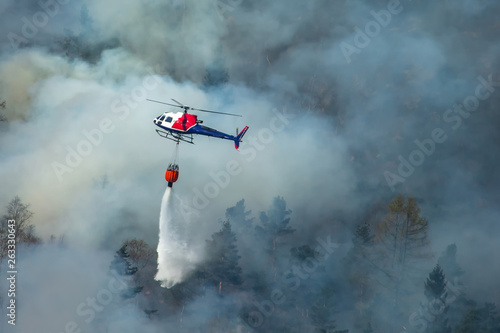 Poster Helicopter Helicopter extinguishing wildfire. Bergen, Norway.