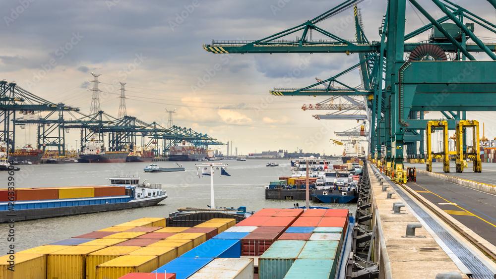 Fototapeta Busy port of Antwerp