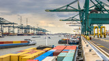 Busy port of Antwerp