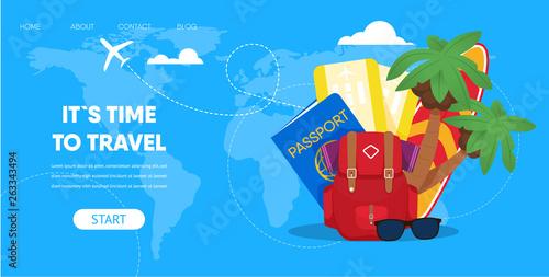 Fotografia  Tourist Accessories Backpack Passport Plane Ticket