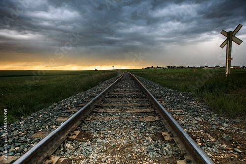 Canvas Prints Railroad Railway to the sunset