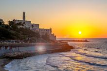 Night View Of Jaffa From The Tel Aviv Promenade