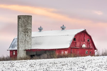 Winter Barn At Sundown - Barn And Silo At Sunset With Basketball Hoop And Snow