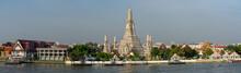 Wide Panorama Image Of Wat Arun Temple At Bangkok, Thailand