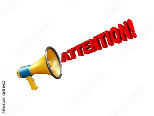 3d megaphone attention alert