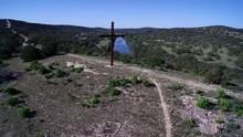 Drone Shot Of Cross Mountain In Fredricksburg Texas  4K