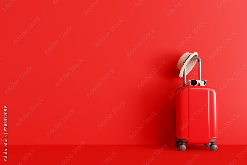 Fototapeta Suitcase with hat and sunglasses on red background. travel concept. minimal style. 3d rendering