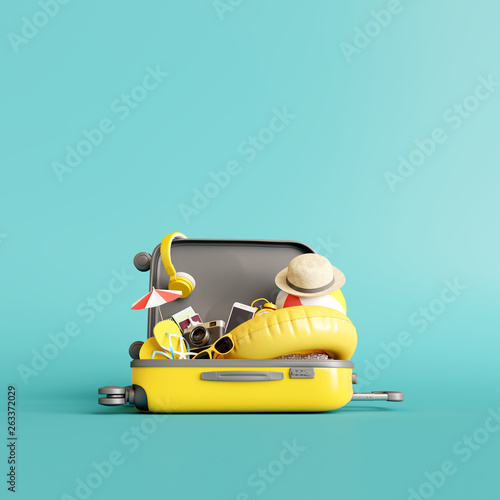 Yellow suitcase with traveler accessories on blue background. summer travel concept. 3d rendering Fototapete