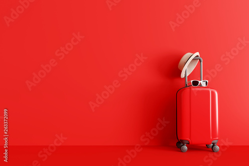 Fototapeta Suitcase with hat and sunglasses on red background. travel concept. minimal style. 3d rendering obraz