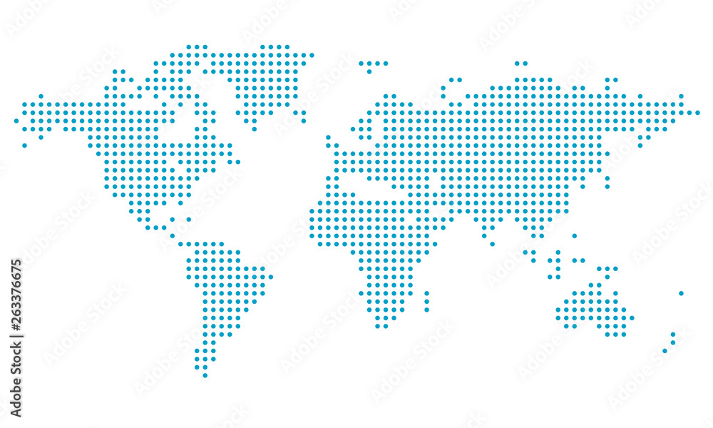 Fototapety, obrazy: Dotted world map,map template for web site pattern,  infographics. Globe similar world map icon. Travel worldwide, map silhouette backdrop.