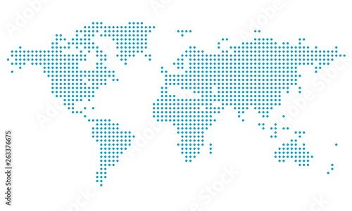 Dotted world map,map template for web site pattern,  infographics. Globe similar world map icon. Travel worldwide, map silhouette backdrop.