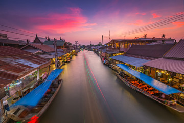 Amphawa floating Market at afternoon, the most famous floating market and cultural tourist destination.