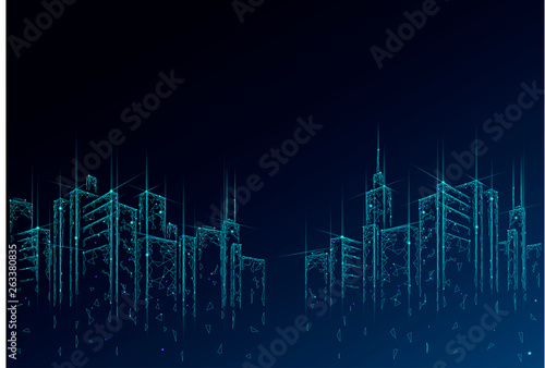 Low poly smart city 3D wire mesh. Intelligent building automation system business concept. High skyscrapers border pattern background. Architecture urban cityscape technology vector illustration - 263380835