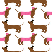 Dachshund Cute Seamless Pattern. Concept Of Dogs Lovers. Sketch For Wrapping Paper, Floral Textile, Background Fill, Fabric.
