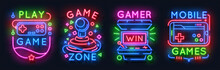Neon Game Signs. Retro Video Games Night Light Icons, Virtual Gaming Club Emblems, Arcade Glowing Posters. Vector Game Controller Sign Banner