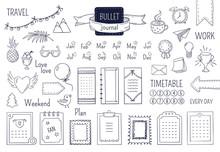 Journal Hand Drawn Elements. Notebook Doodle Bullets, Schedule Calendar Diary Sketch Line Elements. Vector Doodle Bullet Set
