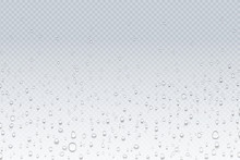 Water Drops On Glass. Rain Droplets On Transparent Window, Steam Condensation Pattern, Shower Glass. Vector Water Drops Realistic Background