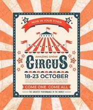 Circus Poster. Carnival Vintag...