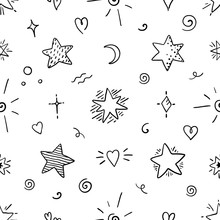 Doodle Star Seamless Pattern. Magic Party Sketch Elements, Decorative Ornamental Graphic Symbols. Vector Sky Design Abstract Poster