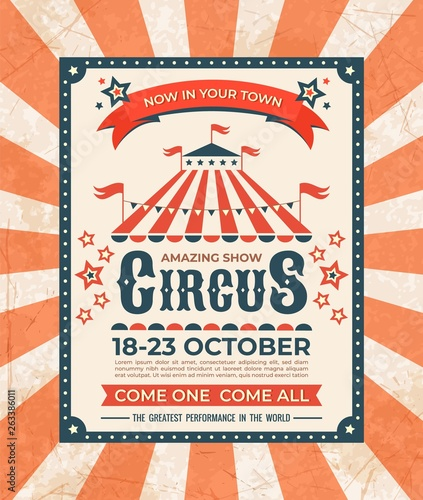 Fototapeta Circus Poster Carnival Vintage Old Banner Frame Magic Show Greetings Card Retro Invitation Card Vector Marquee Tent Elegant