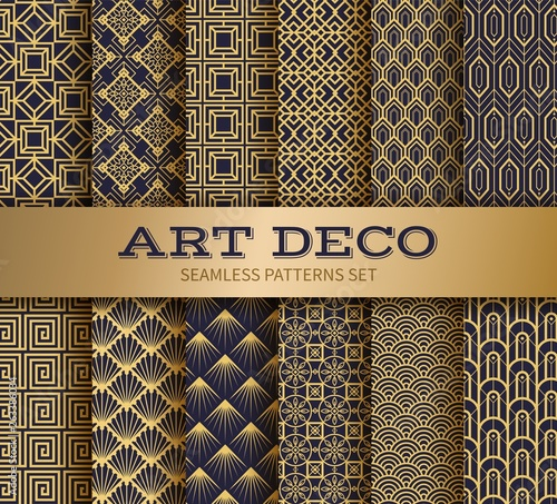 Art deco seamless pattern. Luxury geometric nouveau wallpaper, elegant classic retro ornament. Vector golden abstract geometric royal pattern