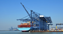 Large Container Ship Being Loaded At Felixstowe Port.