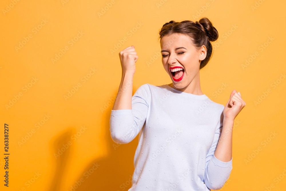 Fototapeta Portrait of her she nice-looking cool attractive lovely lovable winsome sweet crazy cheerful cheery girl having fun great breakthrough isolated on bright vivid shine yellow background